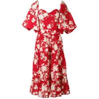 Johanna Ortiz Vestido Midi Com Estampa Floral - Vermelho