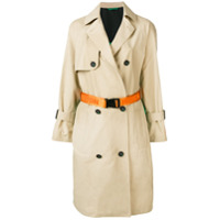 Heron Preston Trench Coat Com Contraste - Neutro