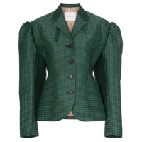Pushbutton Check-Print Puff-Sleeve Cotton-Blend Blazer - Verde