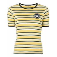 Alexa Chung Camiseta Listrada Com Patch De Logo - Amarelo
