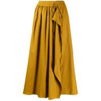 Mrz Saia Envelope Midi Cintura Alta - Amarelo