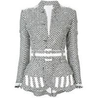 Oscar De La Renta Blazer De Tweed Com Padronagem Espinha De Peixe - Branco