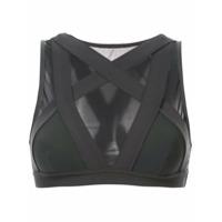 Alo Yoga Blusa Cropped Translúcida - Cinza