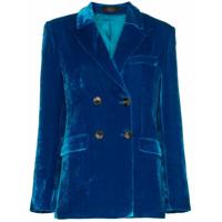 De La Vali Tiger Lily Double Breasted Silk Blend Velvet Blazer - Azul