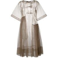 Molly Goddard Vestido De Mesh Xadrez Gingham - Marrom