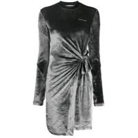 Off-White Vestido Assimétrica De Veludo - Cinza
