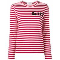 Comme Des Garçons Girl Camiseta Listrada Mangas Longas - Vermelho