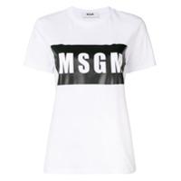 Msgm Camiseta Com Logo - Branco