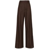 Chloé Calça Pantalona De Lã - Marrom