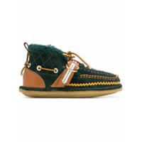 Carven Ankle Boot De Camurça E Couro Com Fivela - Verde