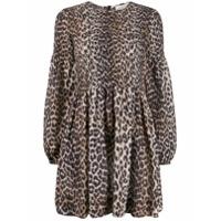 Ganni Vestido Mangas Longas Com Estampa De Leopardo - Marrom