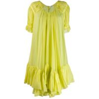 Parlor Vestido Oversized Com Babados - Amarelo
