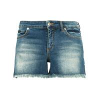Versace Collection Short Jeans Com Bolsos Contrastantes - Azul