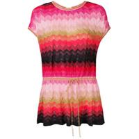 M Missoni Knitted Short-Sleeved Top - Vermelho