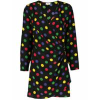 Rixo London Vestido De Seda Color Block Com Poás - Preto