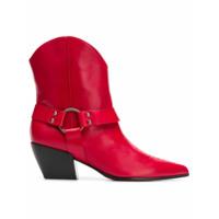 Deimille Ankle Boot De Couro - Vermelho