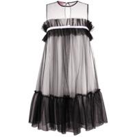 Gina Ruffle Sleeveless Short Dress - Preto