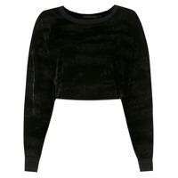 John John Top Cropped Com Brilho - Preto