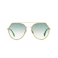 Fendi Óculos De Sol Eyeline - Dourado