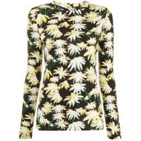 Loewe Camiseta De Seda Mangas Longas - Preto