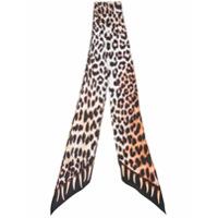 Rockins Lenço De Seda Com Estampa 'leopard's Teeth' - Marrom