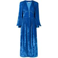 Attico Vestido Longo De Veludo - Azul