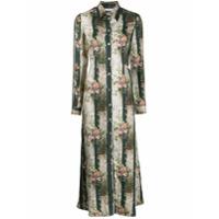 813 Vestido De Seda Com Estampa Floral - Verde