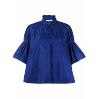 Odeeh Flared Sleeve Ruffle Neck Shirt - Azul