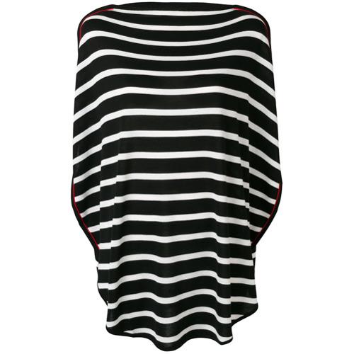 Mm6 Maison Margiela striped flared T-shirt - Preto
