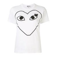 Comme Des Garçons Play Camiseta Com Estampa E Patch De Logo - Branco