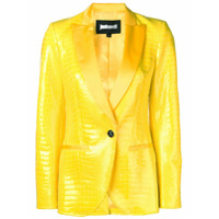 Just Cavalli Snakeskin-Effect Fitted Blazer - Amarelo