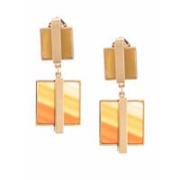 Crystalline Par De Brincos Com Ágata E Jaspe - Dourado