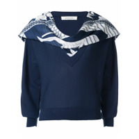 Cédric Charlier Scarf Embellished Sweater - Azul