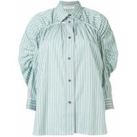 Cédric Charlier Camiseta Listrada Com Pregas - Verde