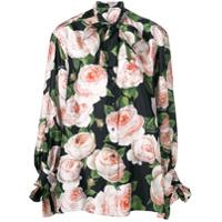 Dolce & Gabbana Blusa Floral De Seda - Preto