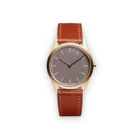 Uniform Wares Relógio 'c33' De Aço Inoxidável E Couro - Marrom