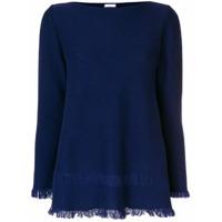 Borgo Asolo Suéter De Cashmere Com Franjas Na Barra - Azul