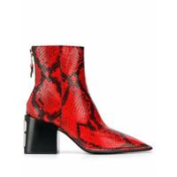 Alexander Wang Ankle Boot Com Padronagem De Cobra - Vermelho