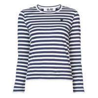 Comme Des Garçons Play Camiseta Listrada Com Patch De Coração - Azul