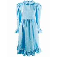 Batsheva Vestido Midi Com Babados - Azul