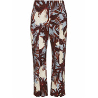 Erdem Slim Cropped Trousers With Floral Print - Azul