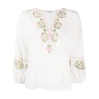 Vilshenko Blusa De Seda Com Bordado Floral - Branco
