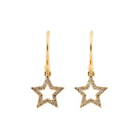 Rosa De La Cruz Par De Brincos De Ouro 18K E Diamantes - Metálico