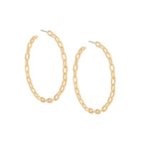 Jack Vartanian Par De Brincos 'chain G' Prata Com Banho Ouro 18K - Dourado