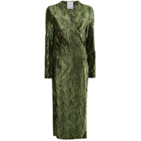 Black Coral Vestido Claire Com Efeito Enrugado - Verde
