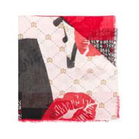 Liu Jo Echarpe Color Block Com Logo - Vermelho