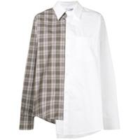 Vaquera Camisa Assimétrica Com Estampa - Branco