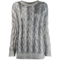 Avant Toi Two-Tone Cable Knit Sweater - Cinza