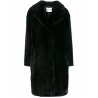Stand Faux Fur Trench Coat - Preto