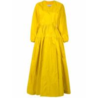 Abadia Vestido De Seda Com Sobreposição - Amarelo